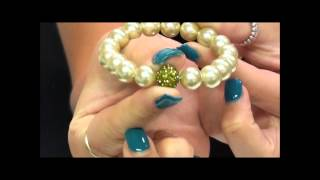 Olive Pearl Effect Disco Ball Bracelet At Argento