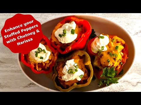 Low carb stuffed peppers enhanced with chutney and harissa - slow cooker method