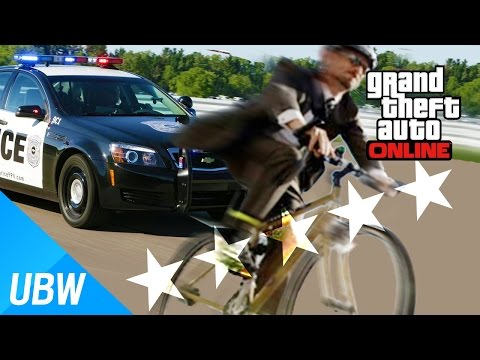 UlsanBigWhale' GTA 5 How long will the Five Stars last with a bicycle? (GTA5 Curiosity, Challenge)