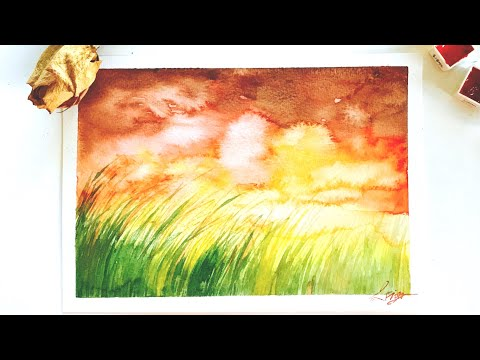 Watercolor Painting for Beginners / A sunset landscape / 수채화