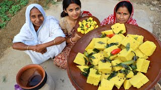 First time making Dhokla recipe for our family | homemade dhokla recipe by Limu in village style
