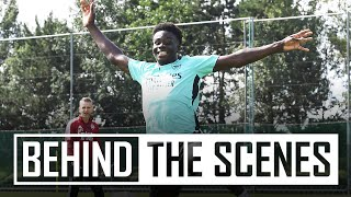 Saka's first session!   Bukayo returns for pre-season   Behind the scenes at Arsenal Training Centre
