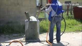 Как работает пескоструйный пистолет видео Power Gun – видео пескоструй металла