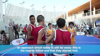 GREAT BASKETBALL MATCH ITALY-GERMANY AT KINDER+SPORT AREA IN EXPO MILANO 2015