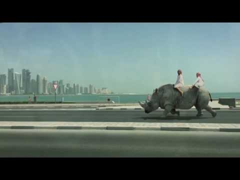 ARABS RIDING RHINO IN QATAR