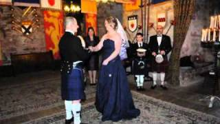 Tartan Wedding Dress for Scottish Wedding at Comlongon Castle