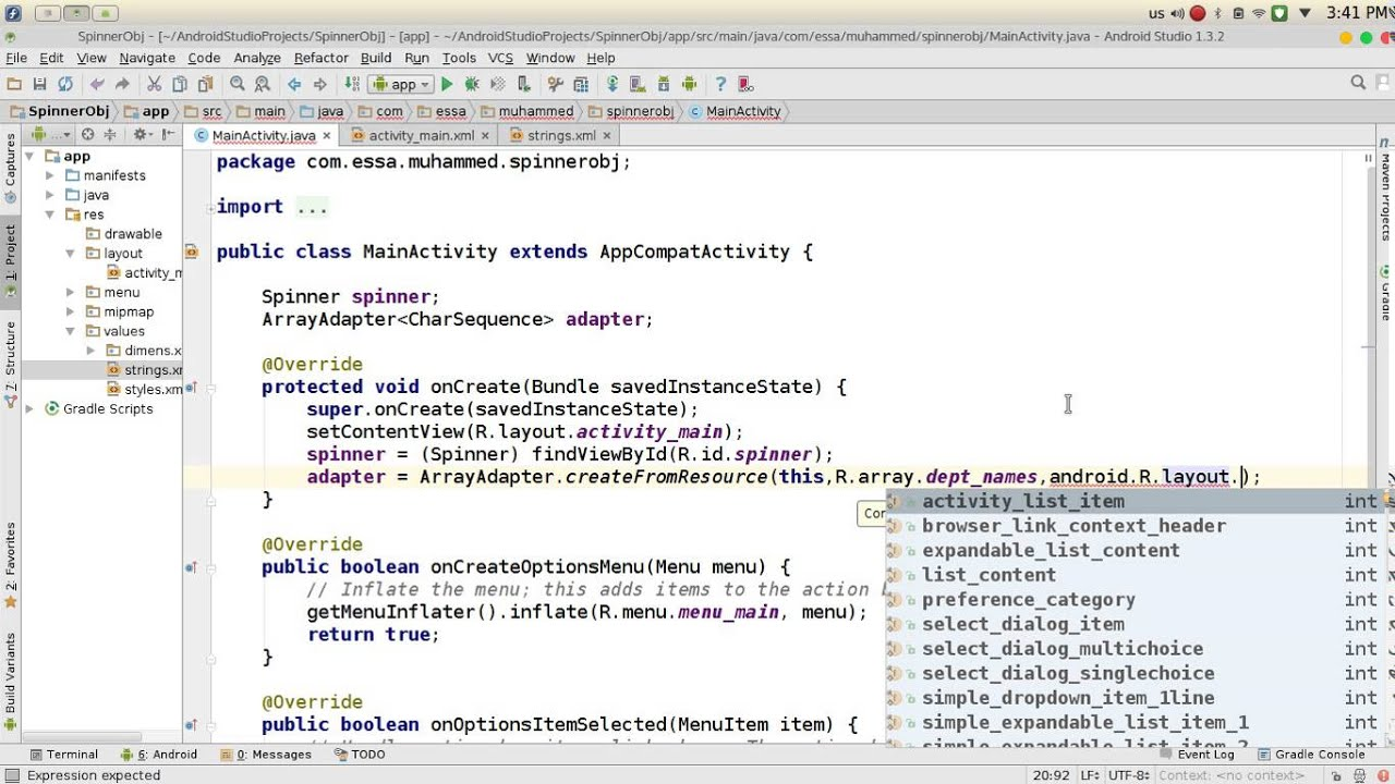65 Android Studio Spinner - YouTube