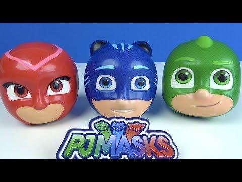 Pijamaskeliler koca kafalar yumuşak oyuncak sürpriz top kesiyoruz Pjmasks top kafalar içinde ne var?