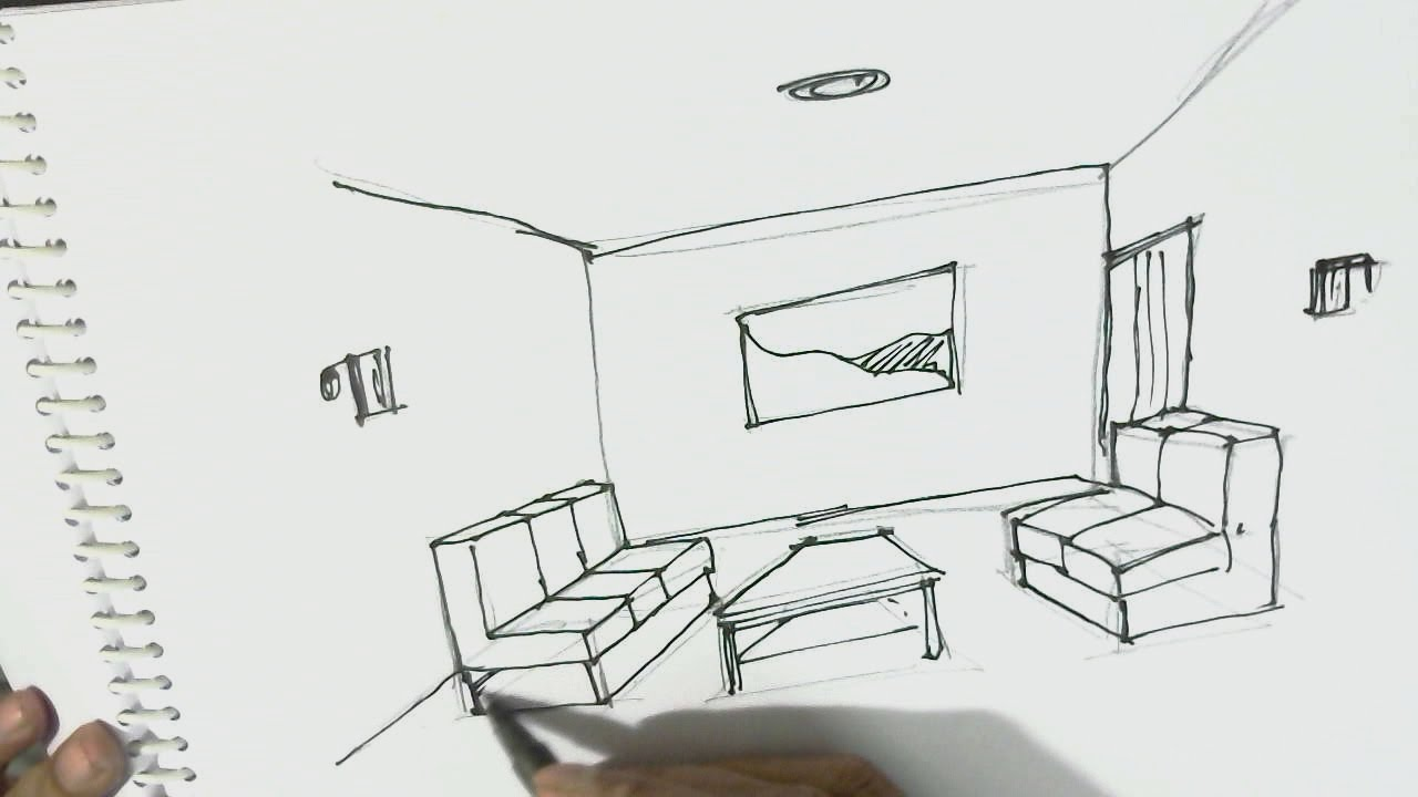 How to draw interior view of room one point perspective Interior design for beginners