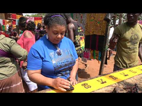 Joanna Adinkra Print Cloth at Ntonso Village - Ghana Tour Nov 2017