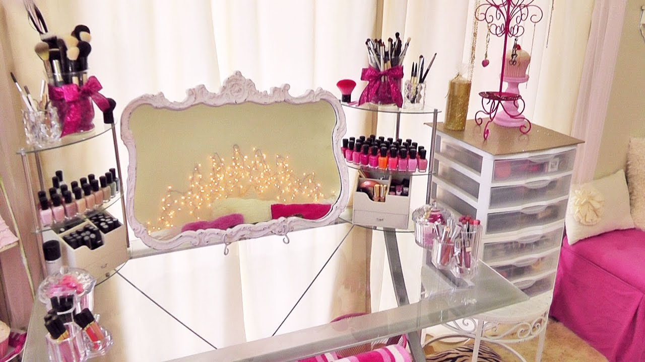 Makeup Collection & Storage by Pink So Foxy - YouTube on Make Up Room Design  id=22288