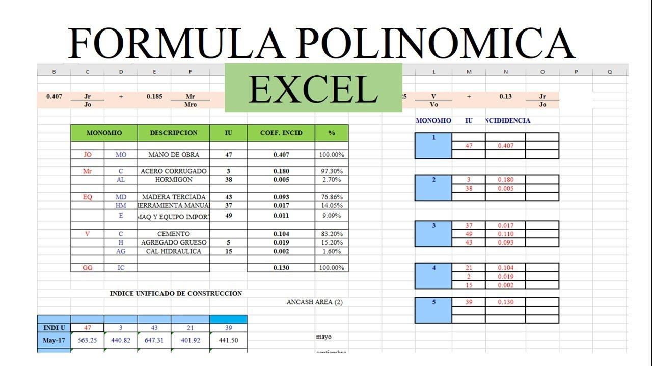 formula polinomica en excel - costos y presupuestos