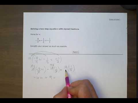 Aleks Solving a two step equation with signed fractions (BR) - YouTube