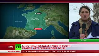 Trebes Siege Shooting hostages taken in south France attacker pledges to ISIS