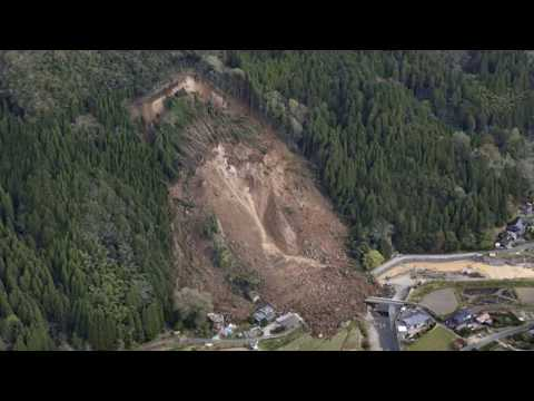 Nakatsu landslide , rotational slump in Japan, landslide Prefecture of Oita