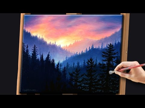 Acrylic landscape painting techniques misty forest with for Acrylic mural painting techniques