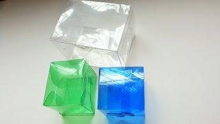 Caixinha quadrada feita com garrafa pet ótimo para lembrancinhas