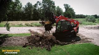 Video still for Tree and Stump Removal Using Tree Puller Attachment on a Skid Steer