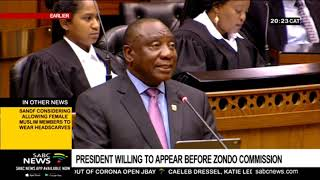 Ramaphosa says he can testify at Zondo Commission