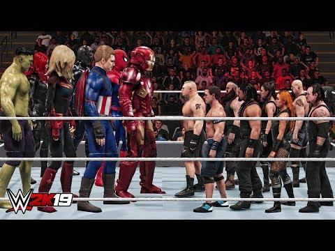 WWE 2K19 30 Giant Avengers & Mini WWE Superstar Royal Rumble Match!