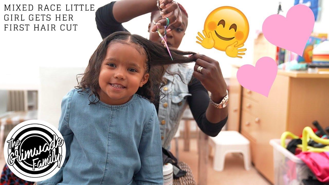 MIXED RACE LITTLE GIRL GETS HER FIRST HAIR CUT