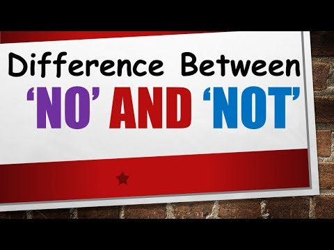 Difference between 'No' and 'Not' in English | Negative words usage in English