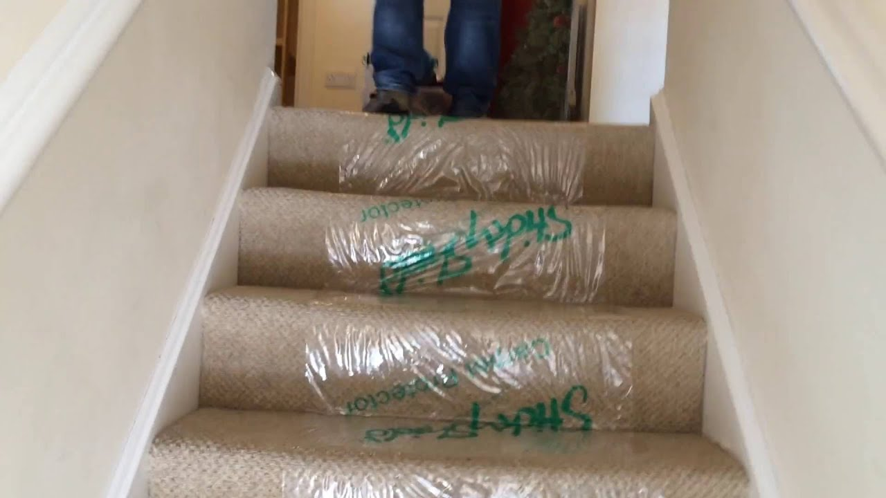 application of carpet protector prior to a house removal by less stress removals swindon youtube