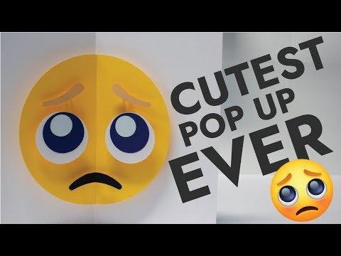 「 C U T E 」 Pleading Emoji Pop Up Card
