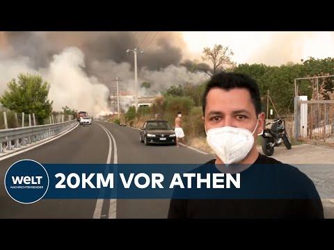 VOR ORT IN GRIECHENLAND: So schnell breiten sich die Waldbrände in Griechenland aus