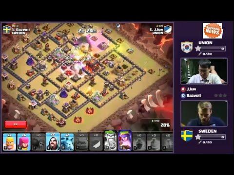 Korean Clash LIVE | UNION VS SWEDEN Round 1-5 | Clash Of Clans Live 24/Sep/2015