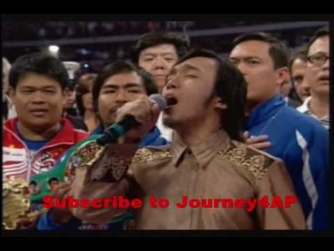 Arnel Pineda of Journey(High Quality) - Lupang Hinirang - MANNY PACQUIAO FIGHT