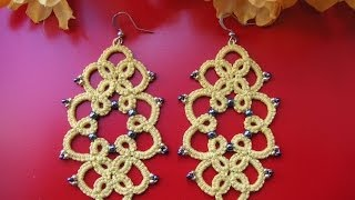 10' TUTORIAL ORECCHINI CON PERLINE CHIACCHIERINO AD AGO EARRINGS NEEDLE TATTING