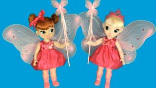 disney frozen dress up elsa anna dress up as fairies dolls mini movie