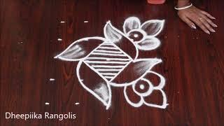 very easy rangoli design with 5x5 dots * beginners kolam designs * latest chukkala muggulu designs