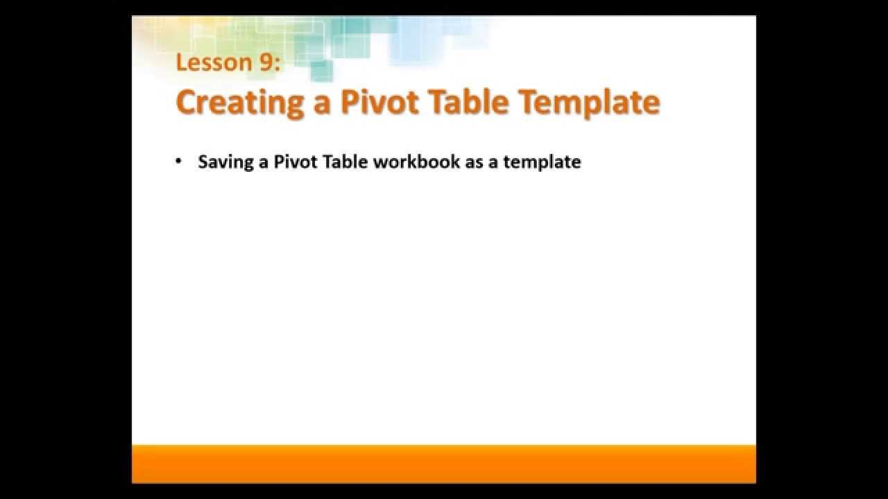 pivot table templates in excel 2013 youtube