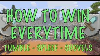 How to win every time - TUMBLE SHOVELS Minecraft - Xbox or Playstation - EASY - MINI GAMES! - SPLEEF