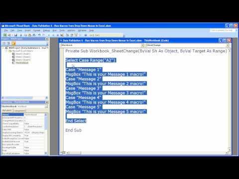 Data Validation 6 - Run Macros from Drop Down Menus in Excel