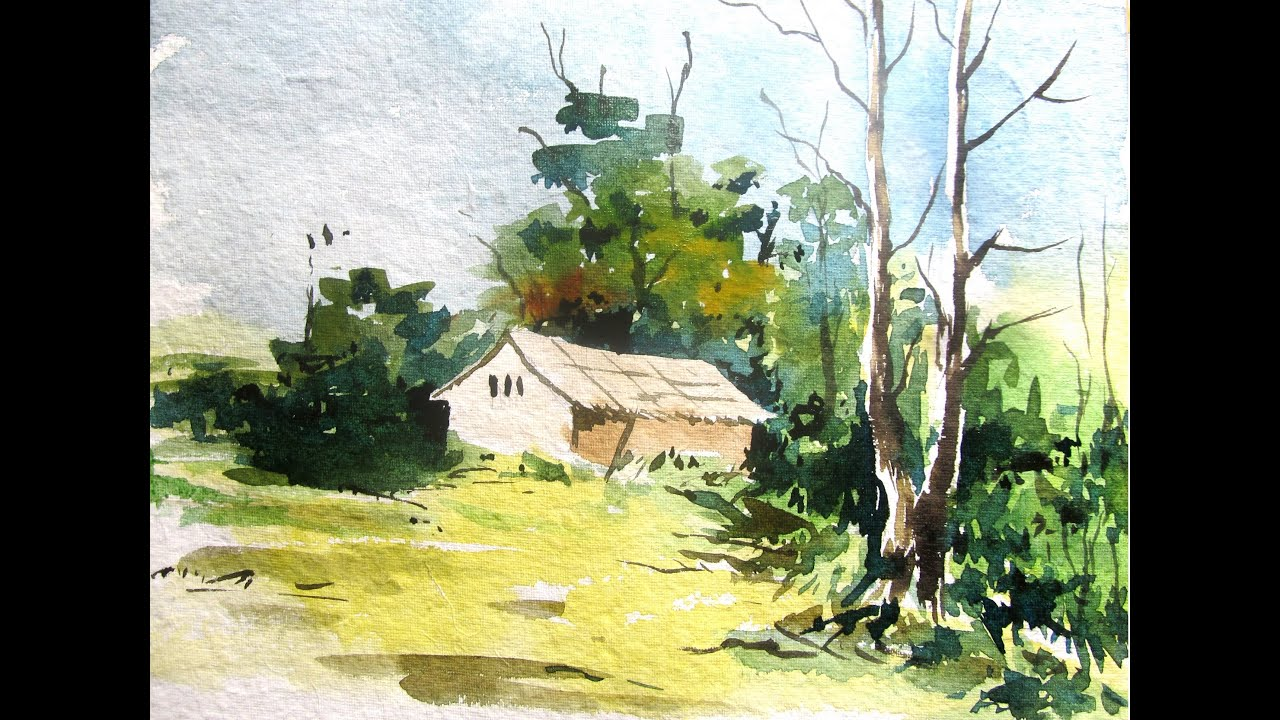 Easy landscape painting with watercolor watercolor for How to watercolor for beginners