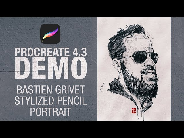 Bastien Grivet - Stylized pencil portrait on Procreate 4.3