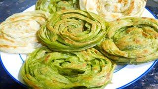 പൊറോട്ട പച്ചകളറിലോ/Chinese Poratta/ Green Parotta Recipe /Viral Parotta Bangkok Street Food.