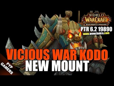 Vicious War Kodo new mount - Warlords of Draenor PTR Patch 6.2