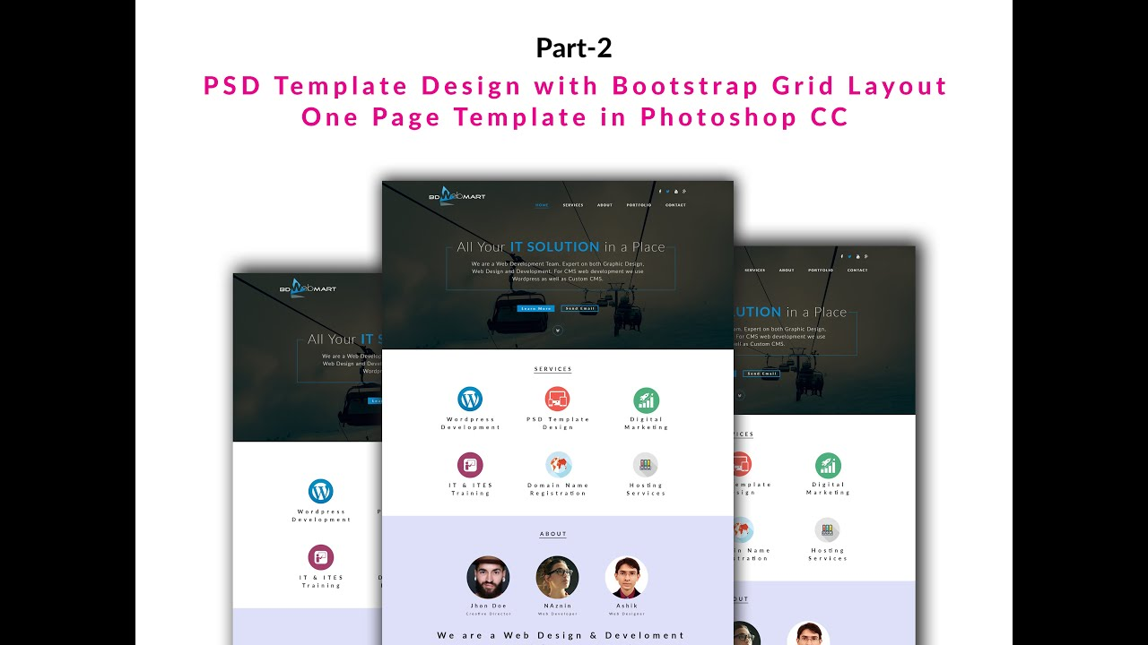 PSD Template Design with Bootstrap Grid Layout One Page Template in ...