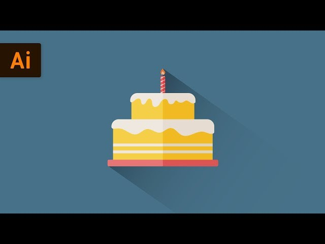 Flat Design Birthday Cake | Illustrator Tutorial