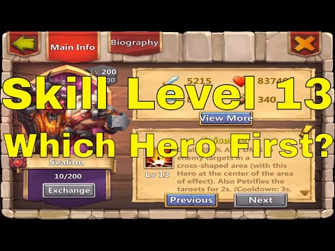 Castle Clash Skill Level 13 Which Hero First?