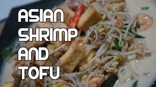 Asian Shrimp & Tofu Recipe - Coconut Milk Beansprouts Prawn Video
