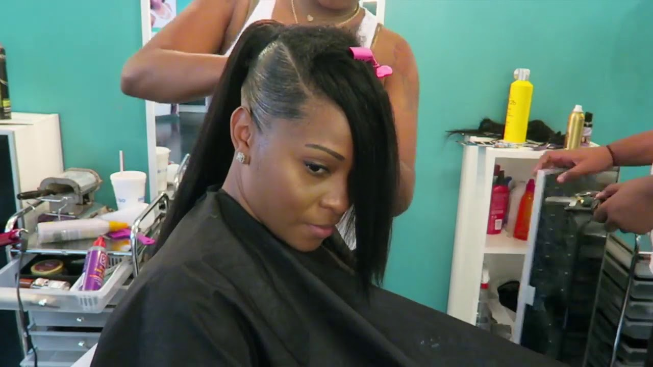 Quick Weave Tutorial: Invisible Sleek Swoop Ponytail On