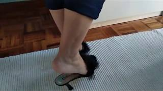 Shoeplay dipping in marabou mules
