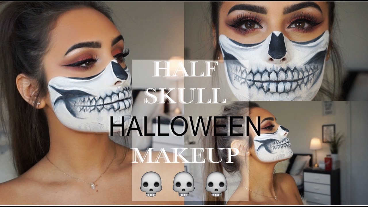 Half Skull HALLOWEEN Makeup Look - YouTube