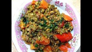 Фасоль маш с овощами и фаршем