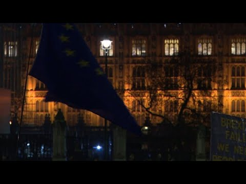 AFP news agency: Liberal Democrats protest against Brexit on Parliament Square